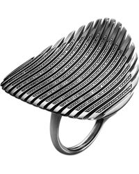 Georg Jensen | Lamellae Collection Black Rhodium And Black Diamond Ring | Lyst