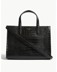 Kurt Geiger - Black Croc Embossed Leather Tote - Lyst
