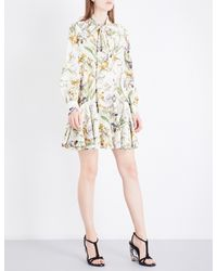 Alexander McQueen | Multicolor Floral-print Pussybow Silk-crepe Dress | Lyst