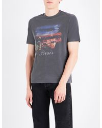 a5856c68 Balenciaga Paris At Night Cotton-jersey T-shirt in Gray for Men - Lyst