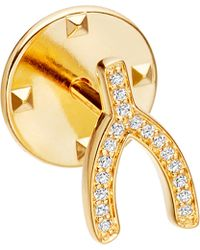 Astley Clarke   Metallic Wishbone Biography 18ct Yellow Gold-plated Vermeil And Sapphire Pin   Lyst