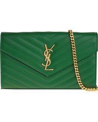 Saint Laurent   Green Monogram Quilted Leather Shoulder Bag   Lyst