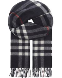 Burberry | Blue Giant Check Cashmere Scarf for Men | Lyst
