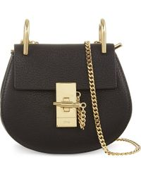 Chloé - Black Drew Nano Saddle Leather Cross-Body Bag - Lyst