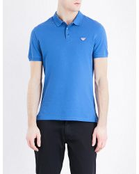 Armani Jeans | Blue Logo-embroidered Cotton-piqué Polo Shirt for Men | Lyst