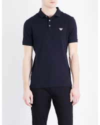 Armani Jeans | Blue Grosgrain Stretch-cotton Polo Shirt for Men | Lyst