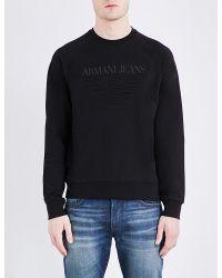 Armani Jeans | Black Eagle Cotton-jersey Sweatshirt for Men | Lyst