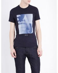 Armani Jeans | Blue Made In Italy Stretch-cotton T-shirt for Men | Lyst