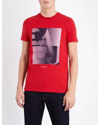 Armani Jeans | Red Made In Italy Stretch-cotton T-shirt for Men | Lyst