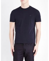 Armani Jeans | Blue Back-logo Cotton-jersey T-shirt for Men | Lyst