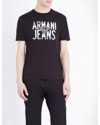 Armani Jeans   Black Eagle-logo Cotton-jersey T-shirt for Men   Lyst