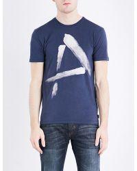 Armani Jeans | Blue Paint-print Cotton-jersey T-shirt for Men | Lyst