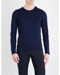 Armani | Blue Contrast Collar Knitted Jumper for Men | Lyst