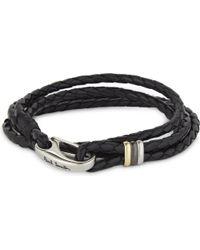 Paul Smith - Mens Black Embossed Minimalist Aesthetic Leather Wrap Bracelet for Men - Lyst