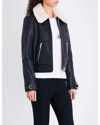 Maje - Black Bakard Shearling-collar Leather Jacket - Lyst