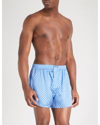 Derek Rose - Blue Brindisi 20 Classic-fit Silk Boxers for Men - Lyst