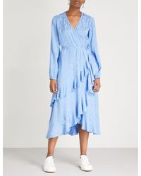 Kitri - Blue Cecilia Crepe Wrap Dress - Lyst