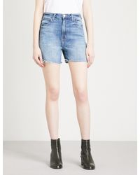 J Brand - Blue Joan Frayed-hem Denim Shorts - Lyst