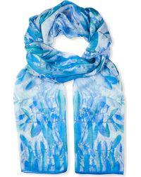 BEATRICE JENKINS - Blue Hurlingham Palm Silk Scarf - Lyst
