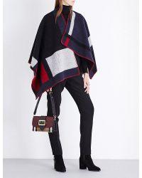 Burberry | Blue Mega Check Wool Cape | Lyst
