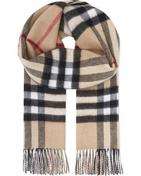 Burberry | Gray Giant Check Cashmere Scarf for Men | Lyst