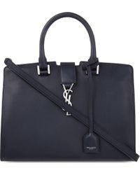 Saint Laurent | Black Monogram Cabas Small Leather Tote | Lyst