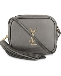 Saint Laurent - Gray Blogger Leather Cross-body Bag - Lyst