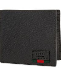 Gucci - Black Grained Leather Billfold for Men - Lyst