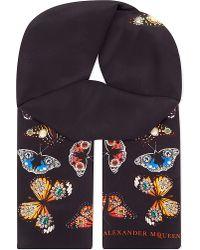 Alexander McQueen   Black Butterfly Silk Scarf   Lyst
