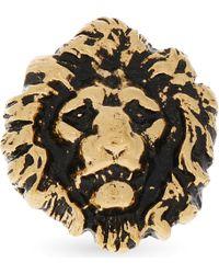 Saint Laurent - Black Lion Head Ring - Lyst