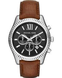 Michael Kors | Metallic Mk8456 Lexington Stainless Steel And Leather Chronograph Watch for Men | Lyst