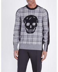 Alexander McQueen | Gray Skull Wool And Cashmere-blend Jumper for Men | Lyst
