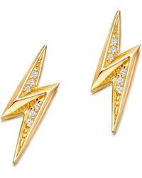 Astley Clarke - Metallic Mini Lightening Bolt 18ct Yellow Gold-plated Stud Earrings - Lyst