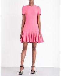 Alexander McQueen | Pink Ruffled Crepe Dress | Lyst