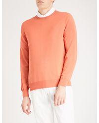 Brunello Cucinelli   Orange Crewneck Wool And Cashmere Jumper for Men   Lyst