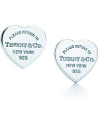 Tiffany & Co Metallic Return To Tiffany™ Mini Heart Tag Earrings In Sterling Silver