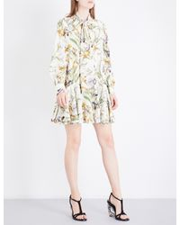 Alexander McQueen   Multicolor Floral-print Pussybow Silk-crepe Dress   Lyst