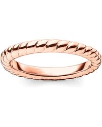Thomas Sabo - Black Glam & Soul 18ct Rose-gold Plated Sterling Silver Twisted Midi Ring - Lyst