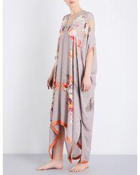 Meng - Pink Floral-print Silk-chiffon Kaftan - Lyst