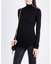 Balmain - Black Button-detail Turtleneck Wool Jumper - Lyst