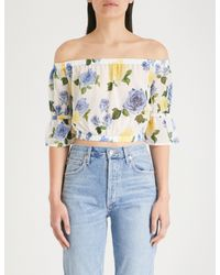 The Kooples - Blue Wild Rose Floral Off-the-shoulder Crepe Cropped Top - Lyst