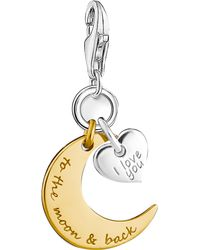 Thomas Sabo | Metallic Charm Club Engraved 18ct Yellow Gold And Sterling Silver Moon And Star Charm | Lyst