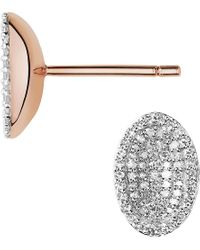Links of London | Metallic Concave 18ct Rose Gold Vermeil And Diamond Stud Earrings | Lyst