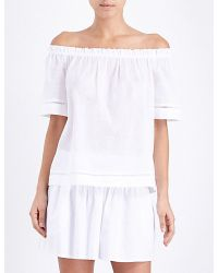 Seafolly | White Off-the-shoulder Cotton-voile Top | Lyst