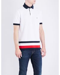 Tommy Hilfiger | White Striped-detail Slim-fit Cotton Polo Shirt for Men | Lyst