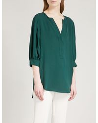 6bee0d8a35aad4 Lyst - Theory Billow Silk-crepe Shirt in Green