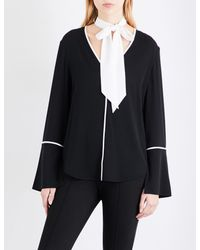 St. John - Black Tie-neck Stretch-silk Shirt - Lyst