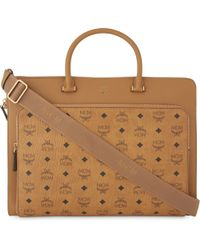 MCM - Brown Otto Visetos Coated Canvas Large Briefcase - Lyst
