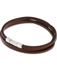 Tateossian - Brown Leather Double-wrap Bracelet for Men - Lyst