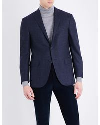 Corneliani | Blue Prince Of Wales Check Tailored-fit Wool Jacket for Men | Lyst